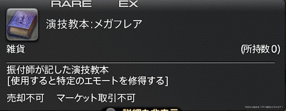 新エモート「メガフレア」の演技教本詳細(FF14)。