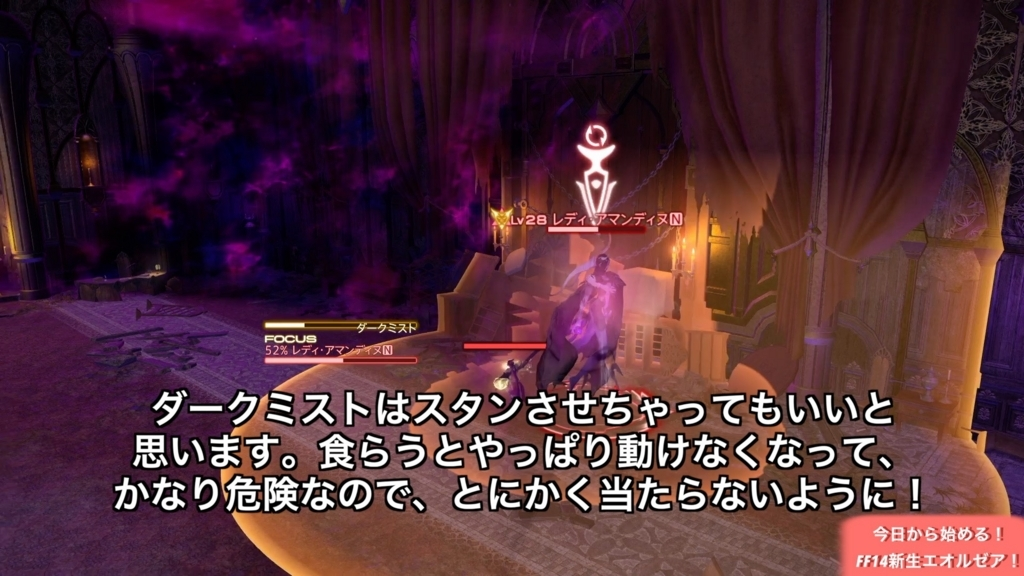 ハウケタ御用邸の最終ボス戦にて、ボスが円範囲攻撃「ダークミスト」を詠唱している所。(FF14)