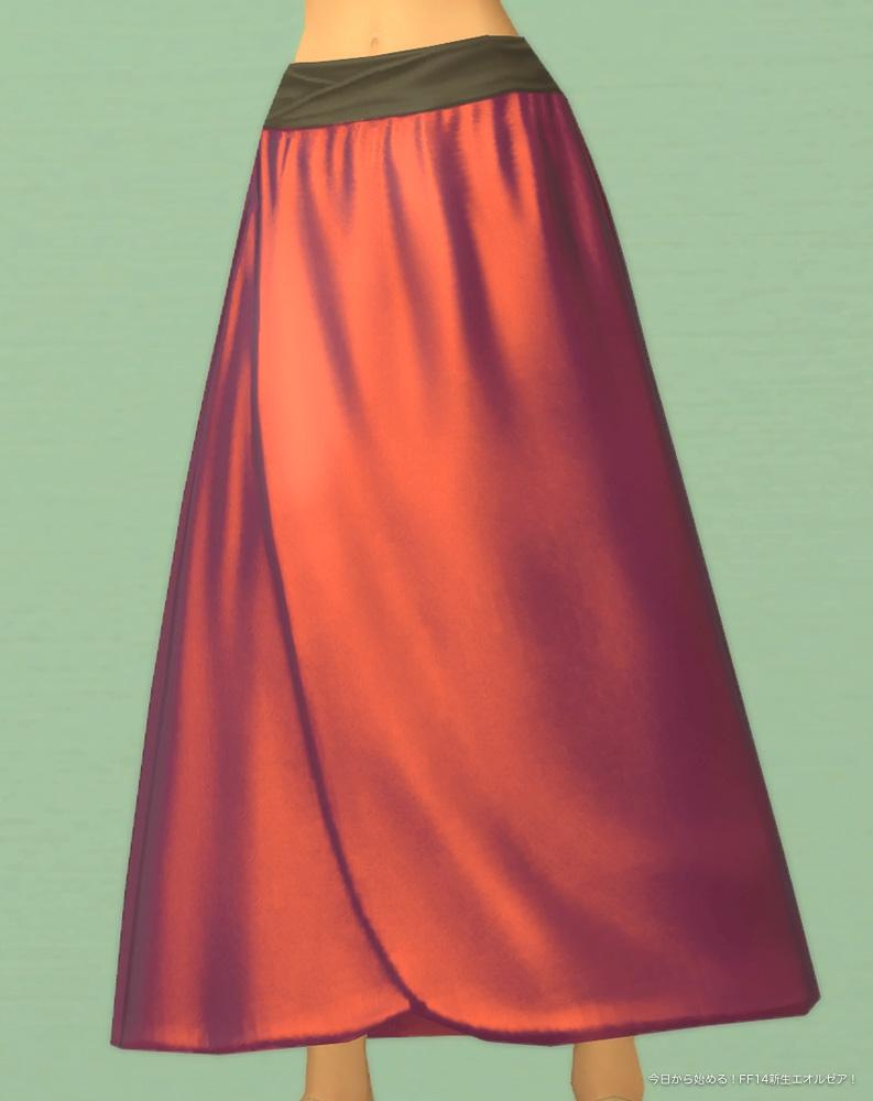 ロングスカート(メタリックレッド)のアップ。(FF14)