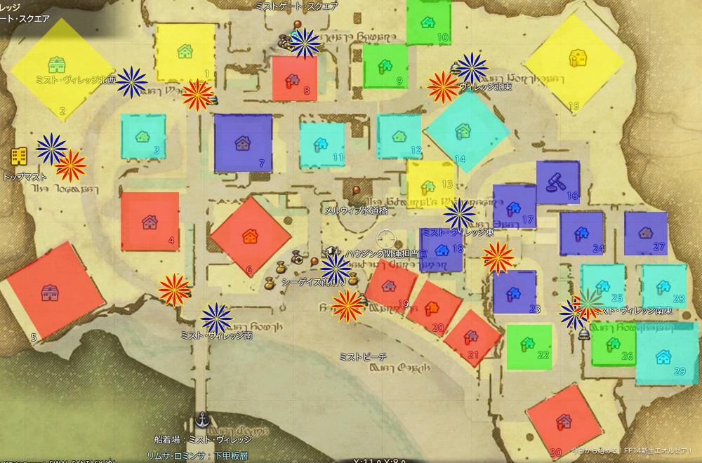 ハウジングエリア「ミストヴィレッジ」の1〜5等地をそれぞれ色付けして分布を調べた図。マーケットボードとエーテライトには花の印が付いている。(FF14)