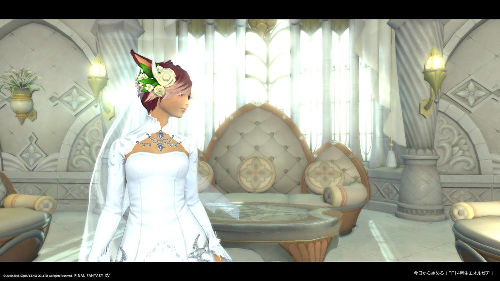 エターナルバンドの会場である大聖堂の待合室。ウェディングドレスを着ている花嫁(ミコッテ女性)が横を向いている。(FF14)