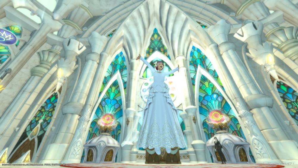 エターナルセレモニー会場の十二神大聖堂内でジャンプするミコッテ♀。(FF14)