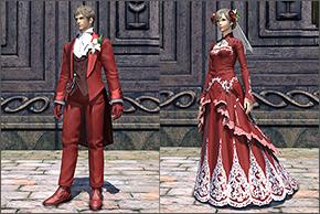 エターナルバンド、プラチナプランでもらえる衣装「エターナルシリーズ」のドレスとタキシード。(FF14)