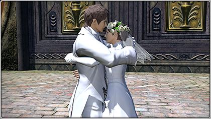 エターナルバンドで入手できるエモート「抱き合う」で抱き合っている二人。(FF14)