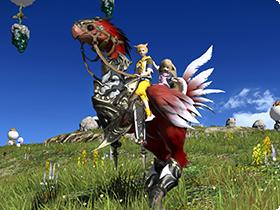 FF14の友達招待キャンペーンでもらえるゴールドチョコボの羽と交換することができるマウント「赤グランチョコボ」。
