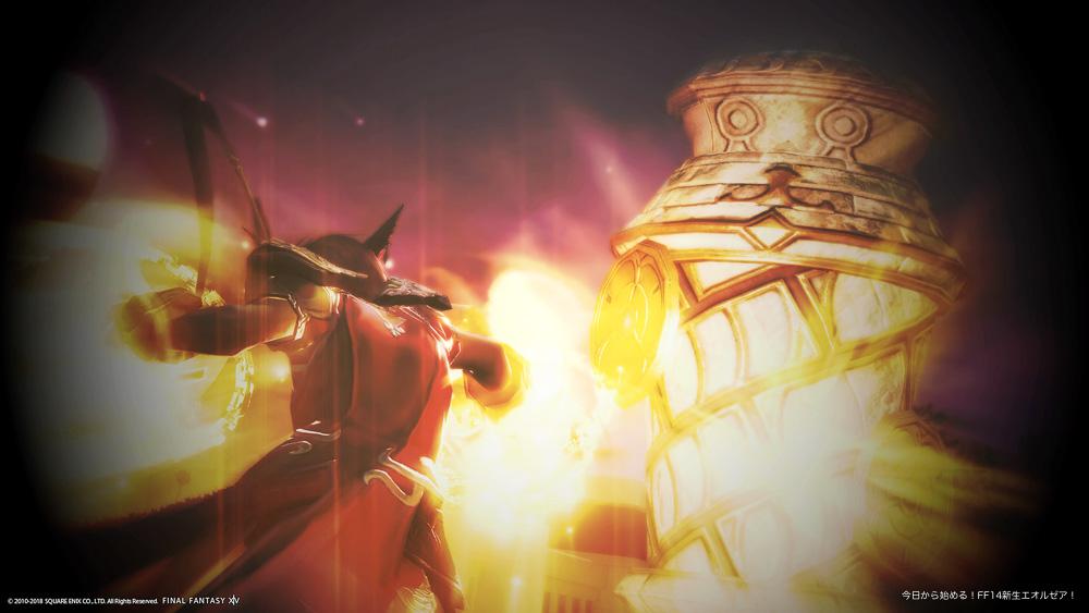 シャーレアン木人を攻撃しているモンク(ミコッテ♀)。(FF14)