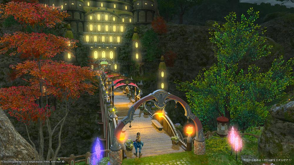ハウジングエリア「ラベンダーベッド」のアパルトメント「リリーヒルズ」前で撮影したスクリーンショット。夜の闇に輝く街の光がきれい。(FF14)