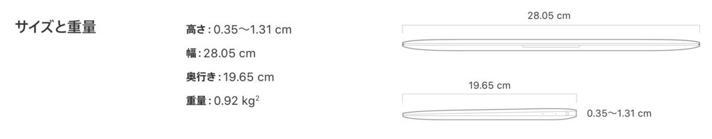 MacBookのサイズと重量。Apple公式HPより。