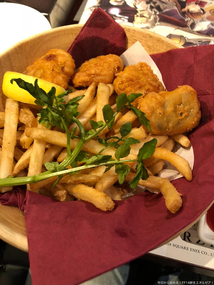 エオルゼアカフェのメニュー「マヒマヒのフィッシュ&チップス」の写真。(FF14)