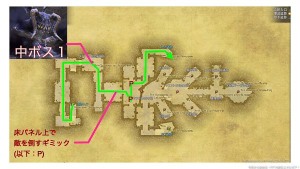 カルン埋没寺院の進行ルートを表したマップ。(FF14)
