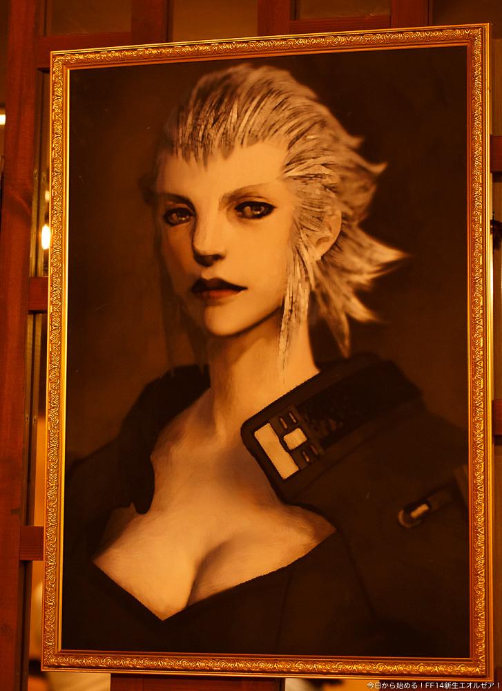 エオルゼアカフェ横浜店の店内に飾られている、メルウィブ提督の肖像画。(FF14)