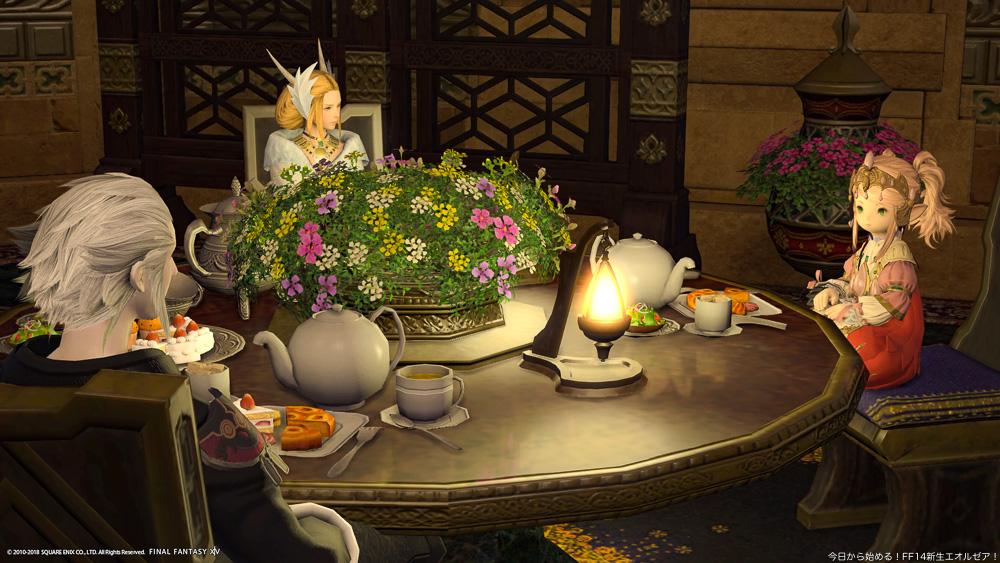 ゲーム中で催されている秘密の女子会の様子。(FF14)