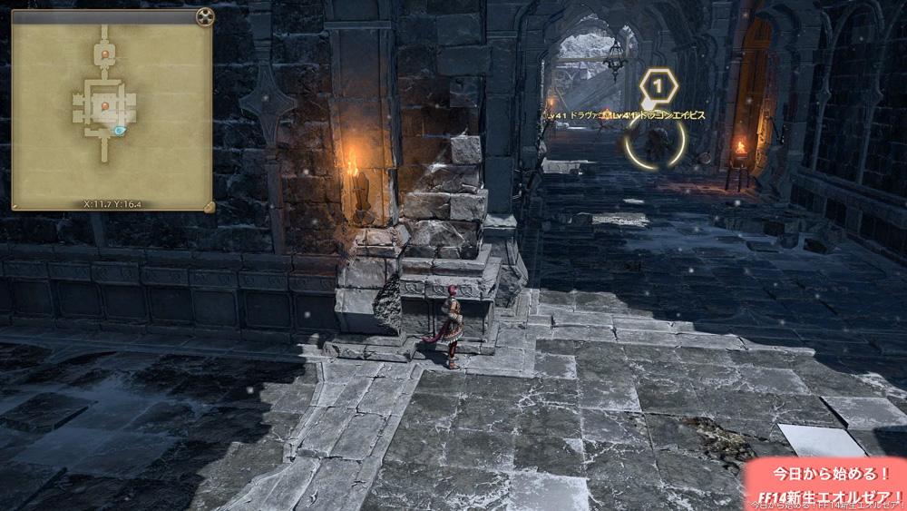 初心者向けストーンヴィジル攻略で、画像は、上からドラゴンの襲撃がある場所。(FF14)