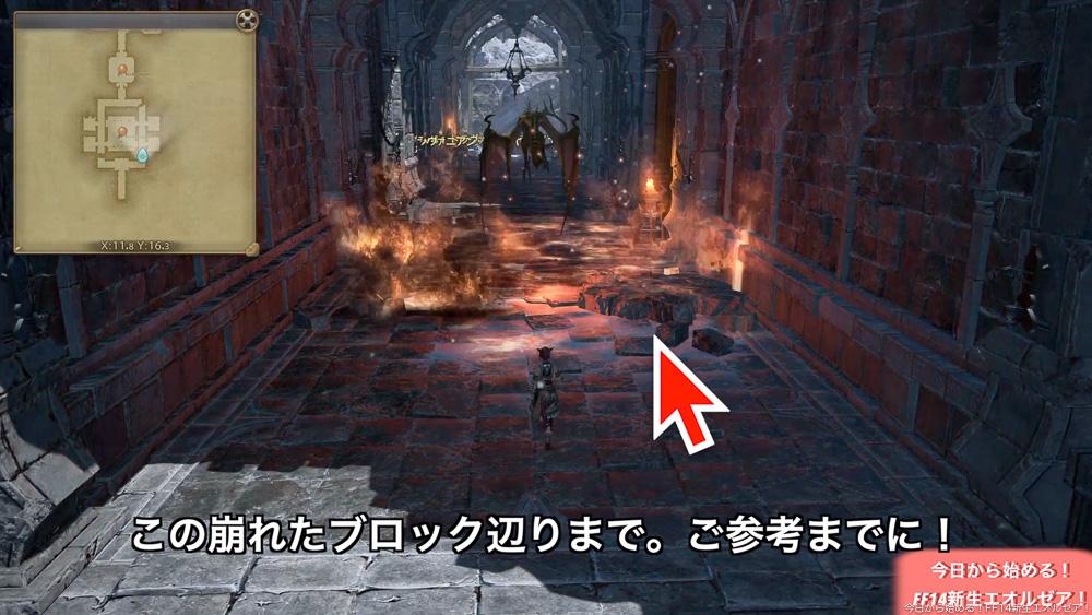 初心者向けストーンヴィジル攻略で、画像は、上からの攻撃の範囲を示している。(FF14)