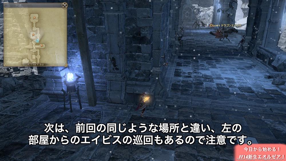初心者向けストーンヴィジル攻略。画像は、巡回のエイビスが部屋から出てきた所。(FF14)