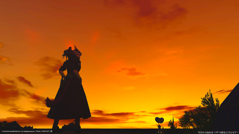 ミストの街で、一人で夕日を眺めるミコッテ。(FF14)