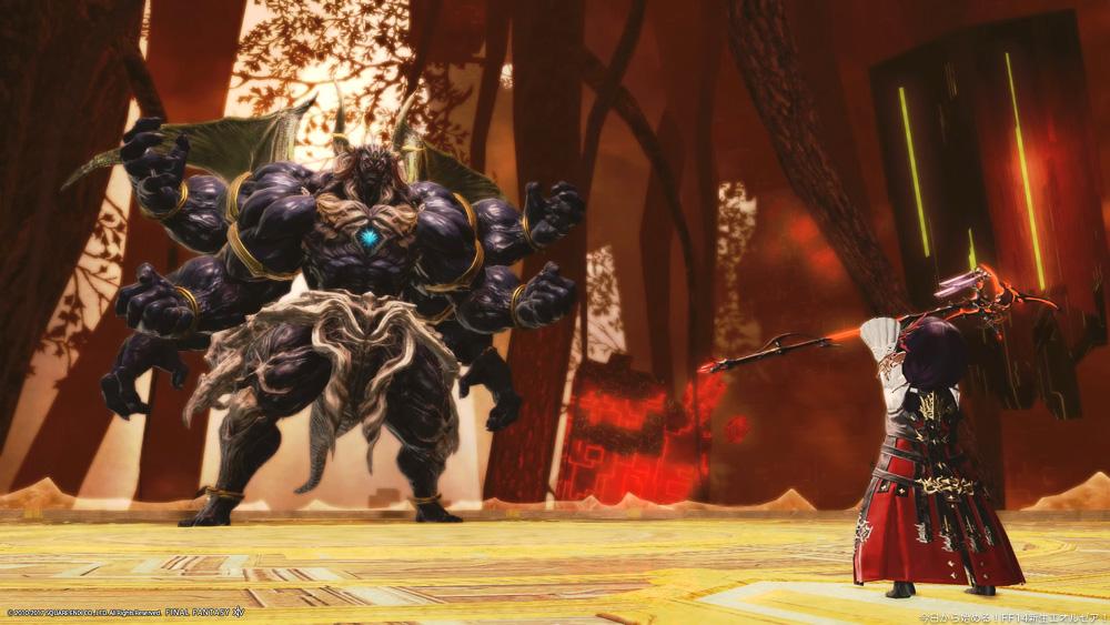 極セフィロトと対峙する白魔道士のララフェル。(FF14)