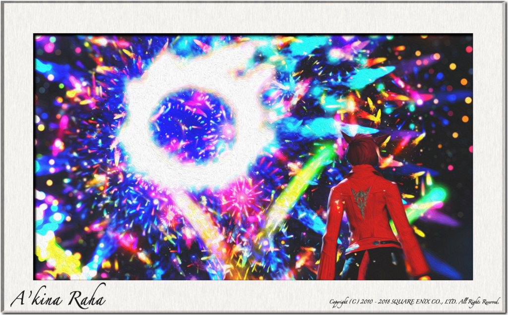 夏の紅蓮祭の時期に上がる花火を撮影して、複数枚組み合わせた画像。(FF14)