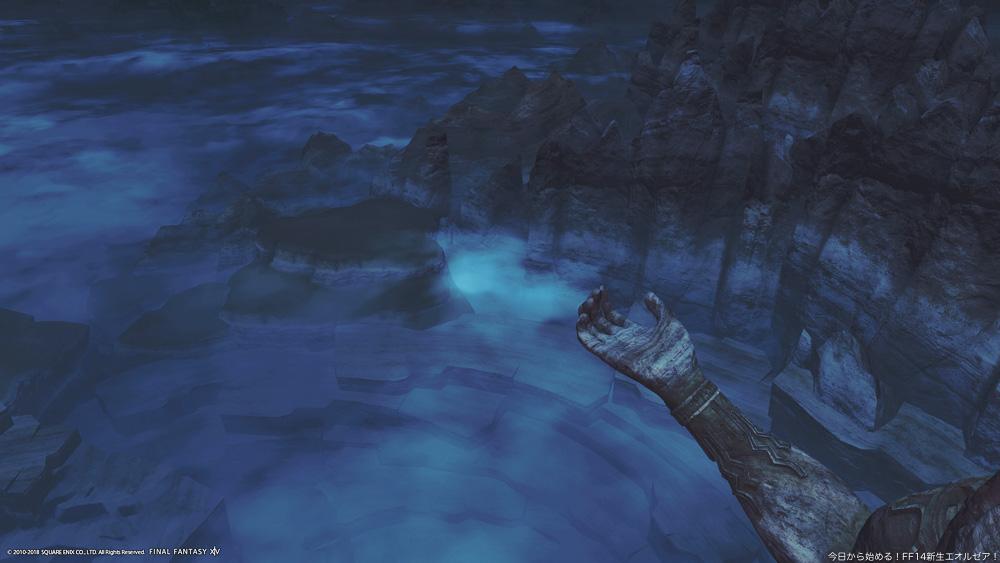守護神ラールガーの頭部付近から撮影した風景。かつてモンクが修行に使っていたその手が見える。(FF14)