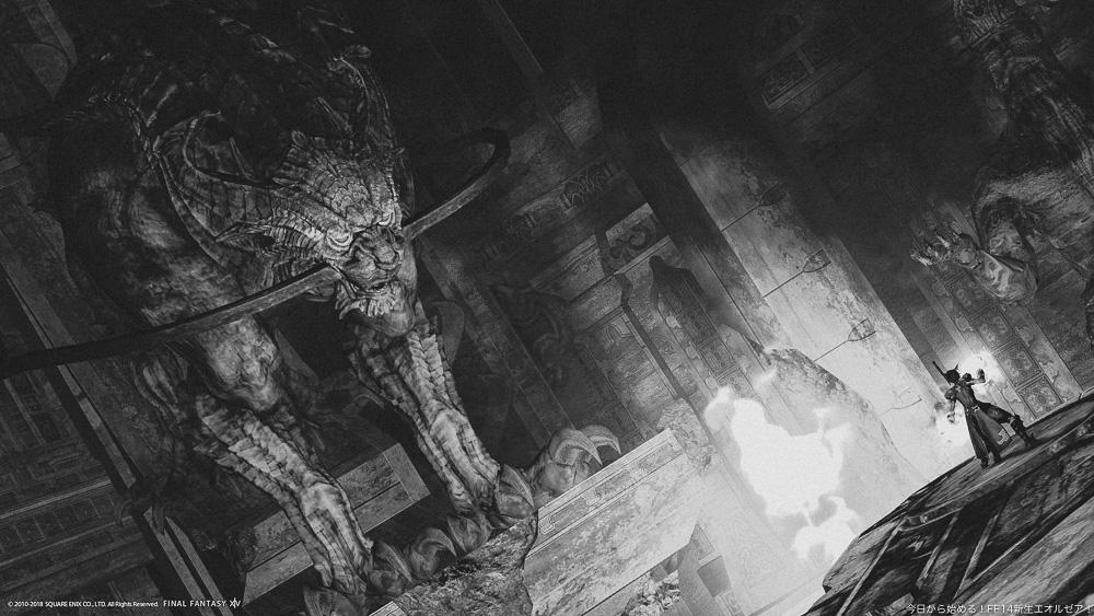 モンクの修行の場であった、星導山寺院内にある、巨大なクァールの彫像。(FF14)