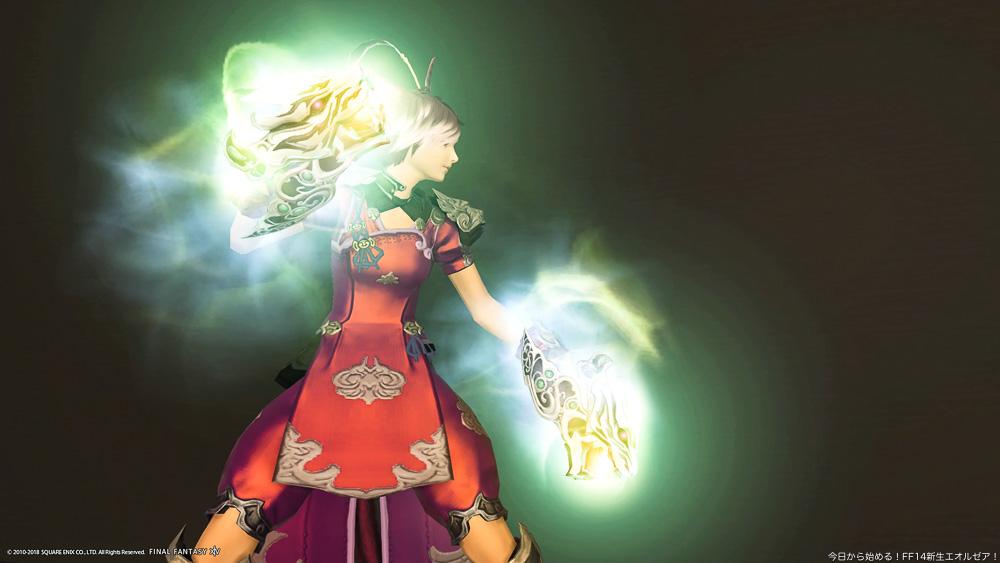 モンクの伝統武器であるスファライを強化した、「スファライ・ノウス」を装備しているミコッテ族女性のモンク。(FF14)