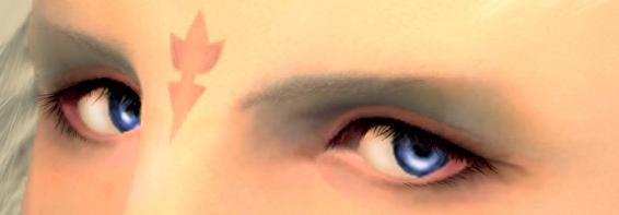 加工後のスクリーンショットの目だけをトリミングした画像。(FF14)
