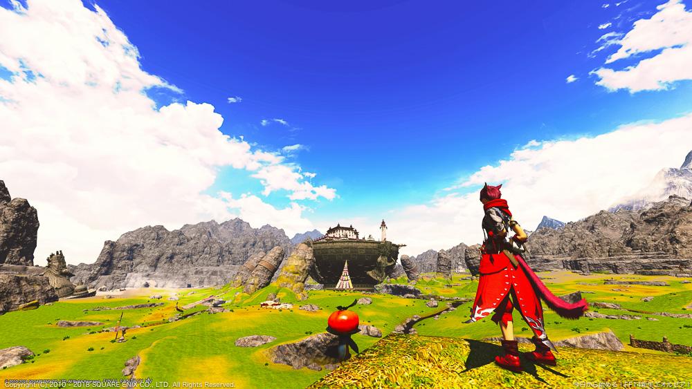 アジムステップの高台にて雄大な景色を眺めているミコッテ。(FF14)