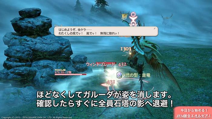 初心者向けガルーダ攻略動画のキャプチャ画像。戦闘開始直後の状態。(FF14)