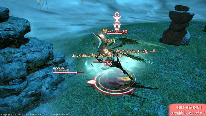 初心者向けガルーダ攻略動画のキャプチャ画像。ガルーダの羽が出現したところ。(FF14)