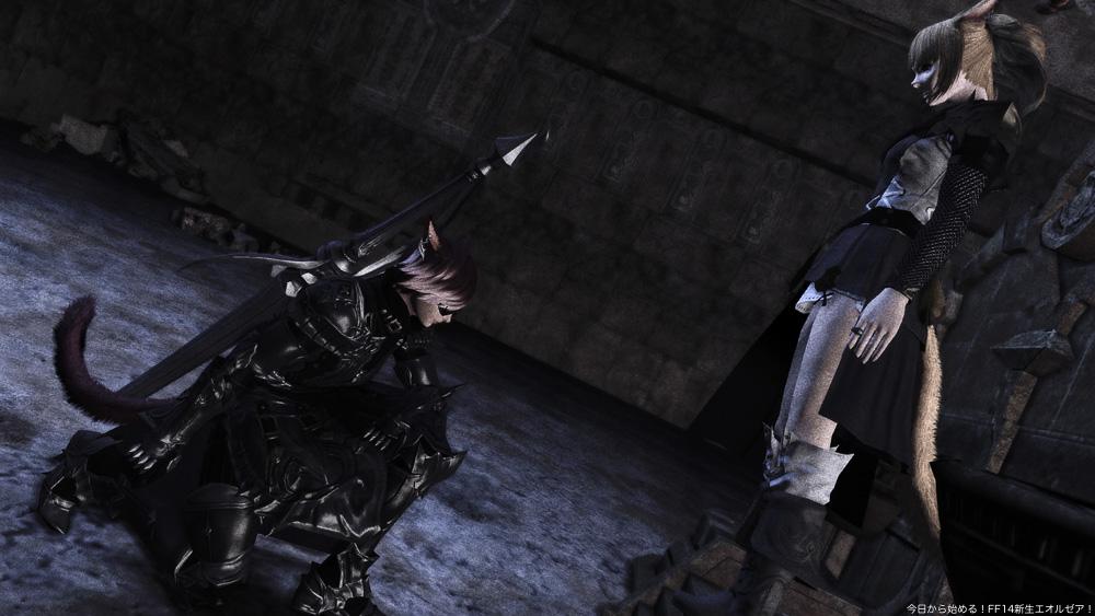 跪く暗黒騎士のミコッテと、それを見下ろすミコッテ。(FF14)