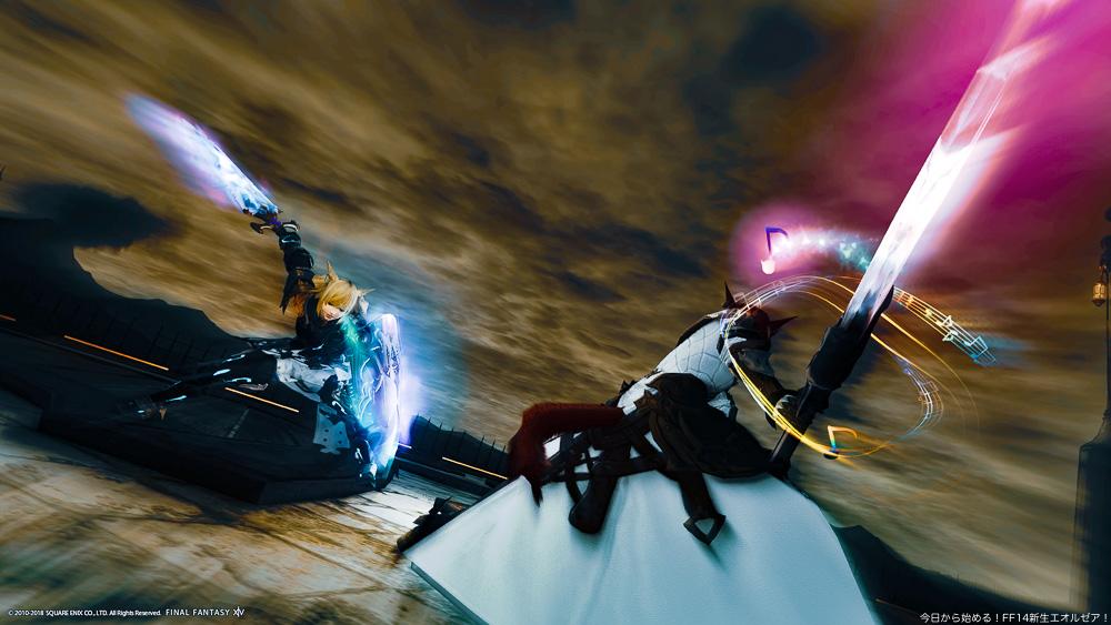 対峙する二人の騎士。ナイトと暗黒騎士のミコッテが写っている。(FF14)