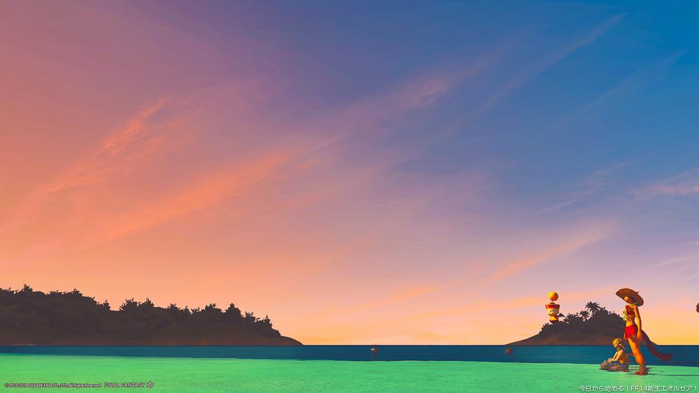 ミストヴィレッジの海で空を見上げるミコッテとアウラの女性。朝焼けが綺麗なグラデーションになっている。(FF14)