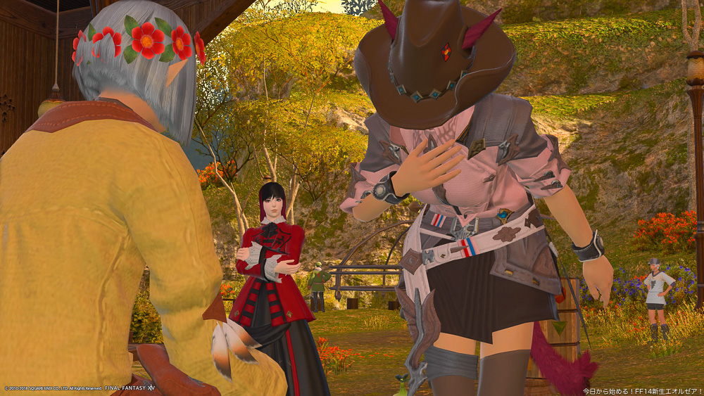 オニィーに挨拶するア・キナとそれを見守るアヤノ。(FF14)