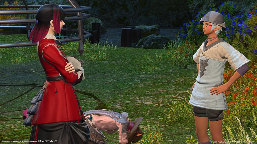 クエストの完了をニコリオーに報告するアヤノと、落ち込みうずくまるア・キナ。(FF14)