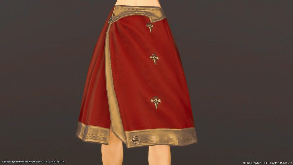 グリフィンディフェンダースカート(ダラガブレッドに染色)を装備しているところ。(FF14)