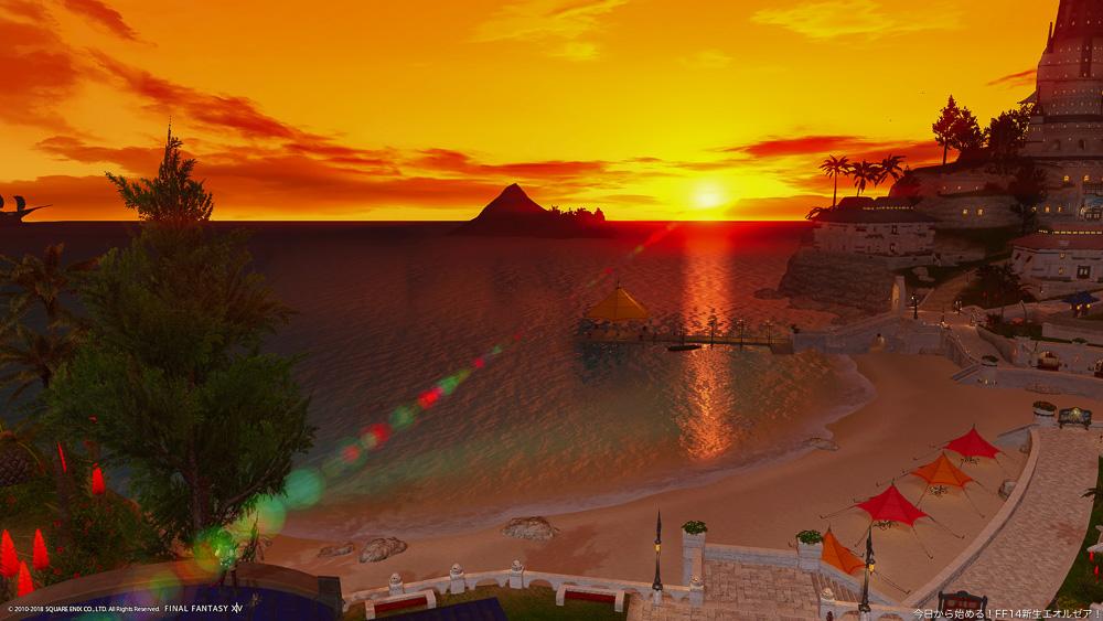 ハウジングエリア、ミストヴィレッジの30番地から眺める夕日。海に沈む真っ赤な夕日が美しい。(FF14)