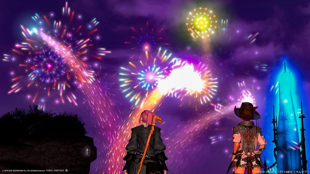 ヒューランとミコッテが、夏の花火を見上げている。リムサロミンサの街にて撮影。(FF14)