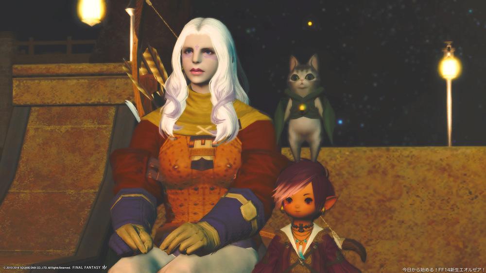 ルガディンとララフェル。ララフェルの頭にはミニオンのゲイラキトンが乗っている。(FF14)