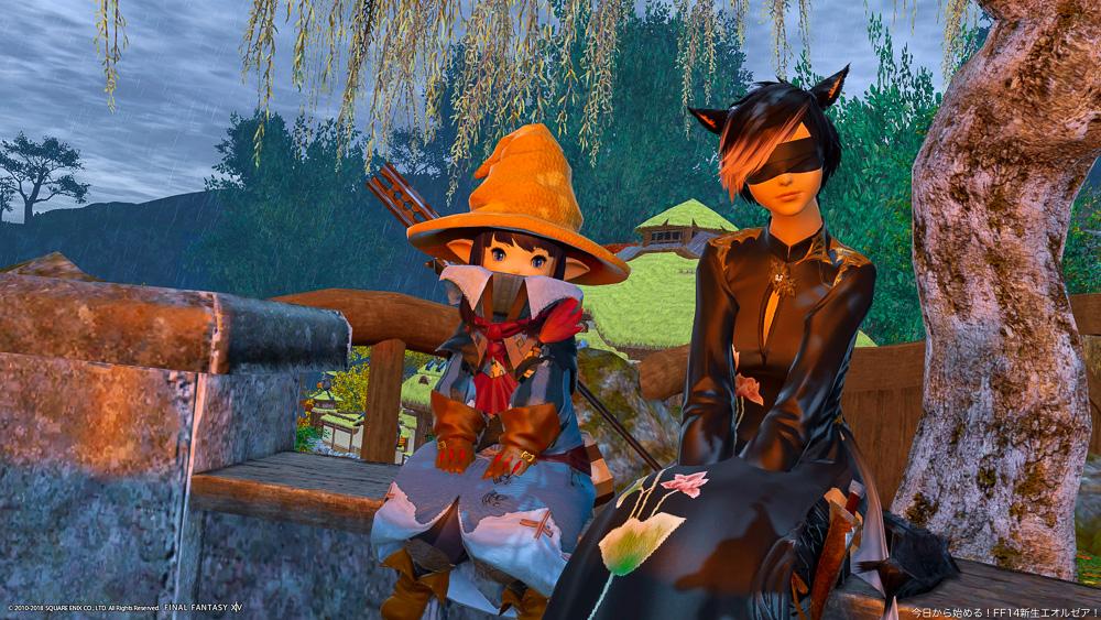 黒魔道士のララフェルと、モンクのミコッテのツーショット。(FF14)