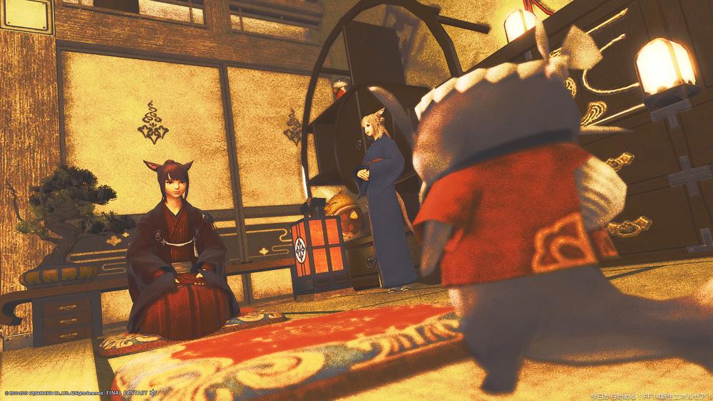 和風の部屋で和服を着たミコッテが正座している。その正面にははっぴを着たナマズオの姿がある。(FF14)