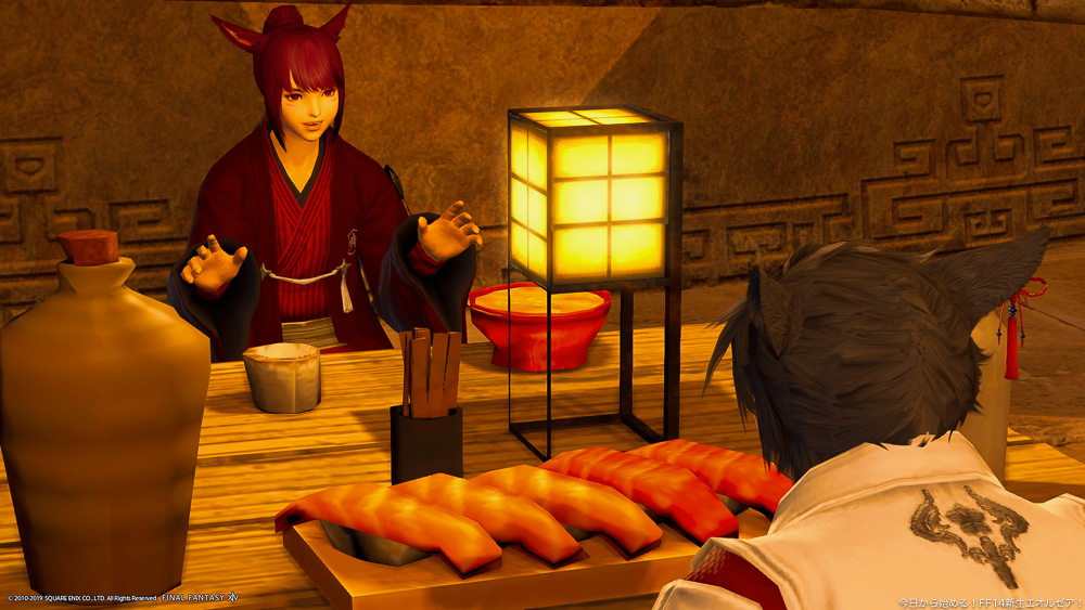 和服のミコッテ二人が食卓を囲んで会話をしている。ドマ町人地にて撮影。(FF14)