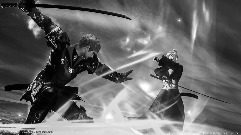 対峙する二人の侍。(FF14)