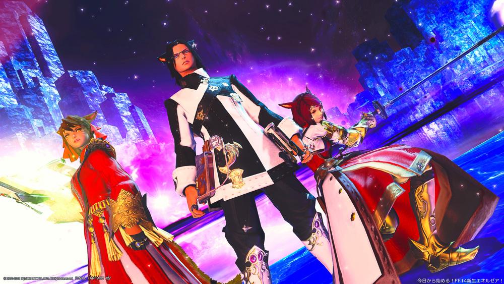 臨戦態勢で並んでいるミコッテ3人。神龍戦にて。タンクのスカラ装備や、カンパニータバードが写っている。(FF14)
