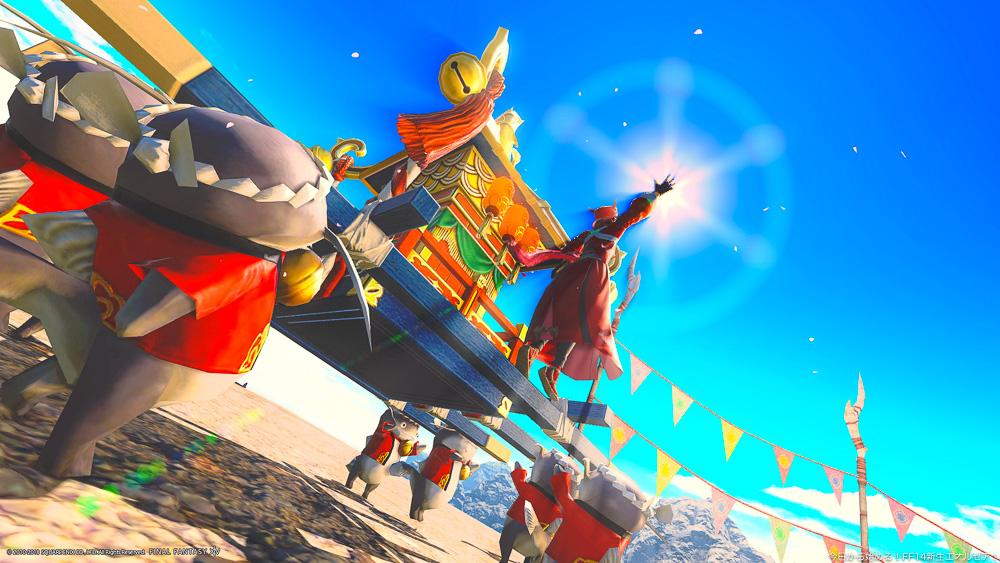 ナマズオの担ぐ神輿(マウント)に乗っているミコッテ。手を高く、太陽にかざしている。クラフター用の鬼師装備(胴)を装備している。(FF14)