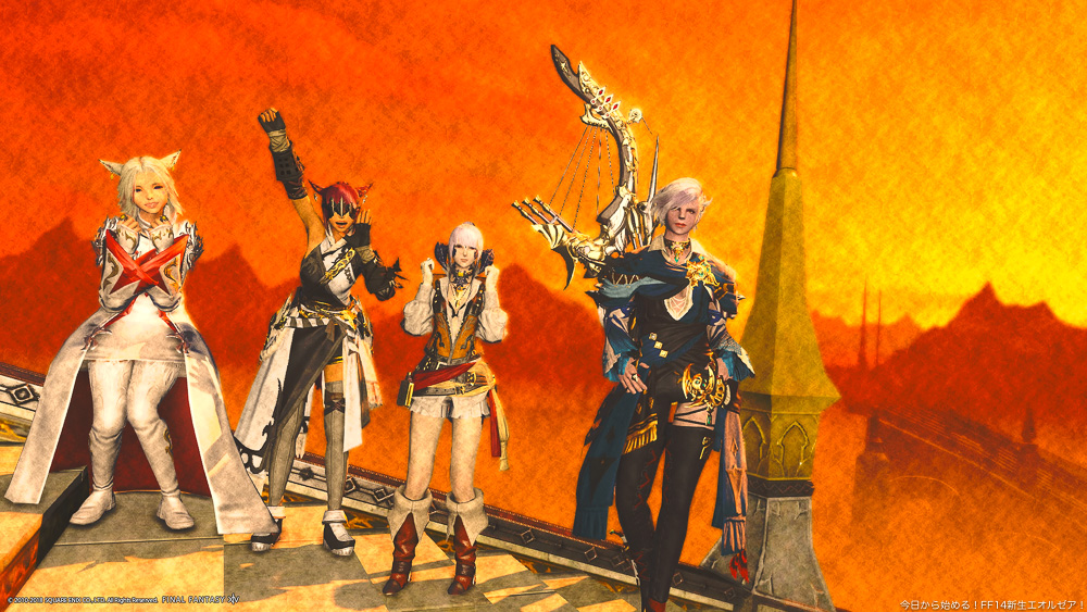 夕焼け空を背景に並ぶ、ミコッテ二人とアウラ、ルガディン。教皇庁にて撮影。(FF14)