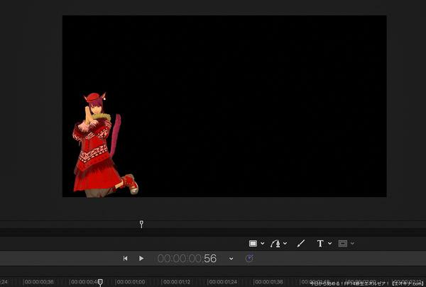 ミコッテ女性のア・キナが喜んでいるところ。動画の制作風景。(FF14)