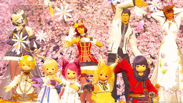 桜を背景に撮影した記念写真。5人のララフェルが前列に、後列には2人のミコッテと、ヒューラン、アウラの合計9人が写っている。(FF14)