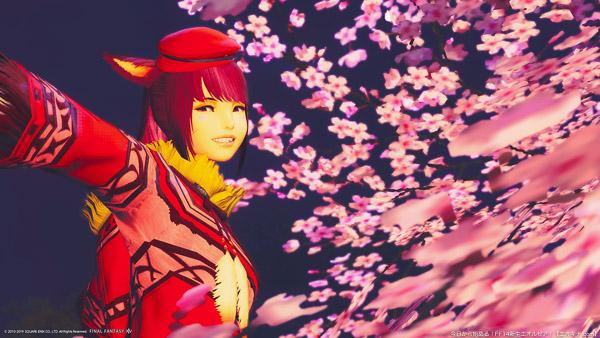 夜桜を背景に写っているミコッテ。(FF14)