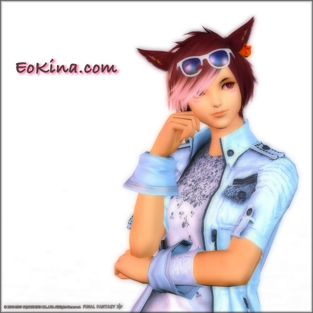 「ルシス王子のジャケット」「エンドレスサマーグラス」「グリフィンカフス」を身に付けているミコッテ♀。(FF14)
