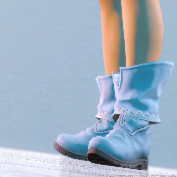 2019年4月に行われたシーズナルイベント「エッグハント」で配布された足装備「スプリガンブーツ」をアイスブルーに染色したもの。(FF14)